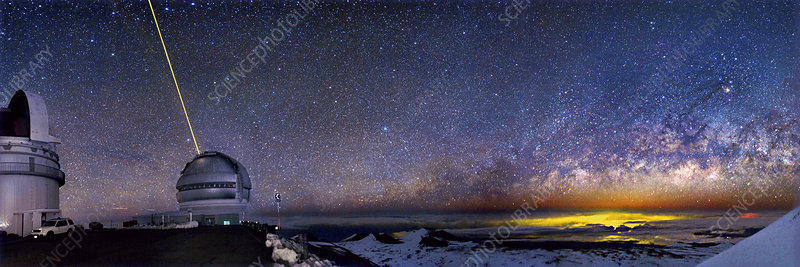 Milky Way over telescopes on Hawaii