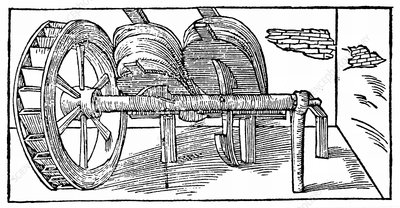 Bellows operated by a camshaft