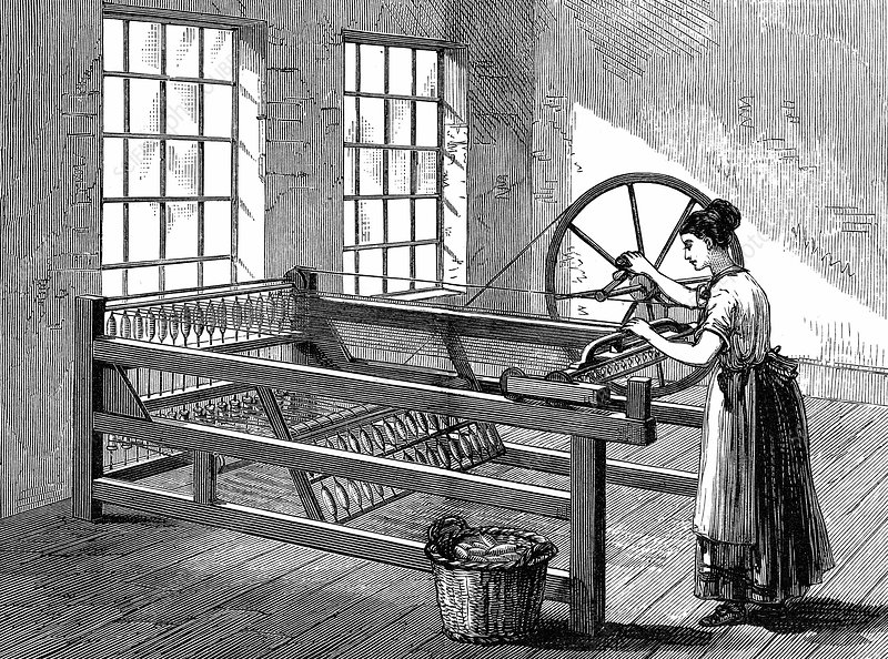 Woman using Spinning Jenny