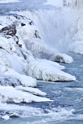 Icy river and waterfall