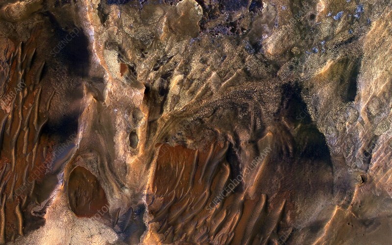 Mars surface deposits, MRO image