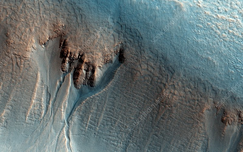 Martian gullies, MRO image