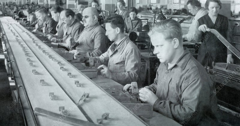Blind workers on a production line