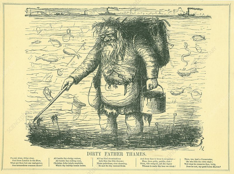 Dirty Father Thames, cartoon, 1849