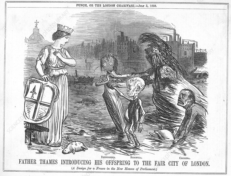 Infected Thames water, 1858 cartoon
