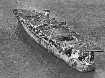 US ship after 1946 atomic bomb test