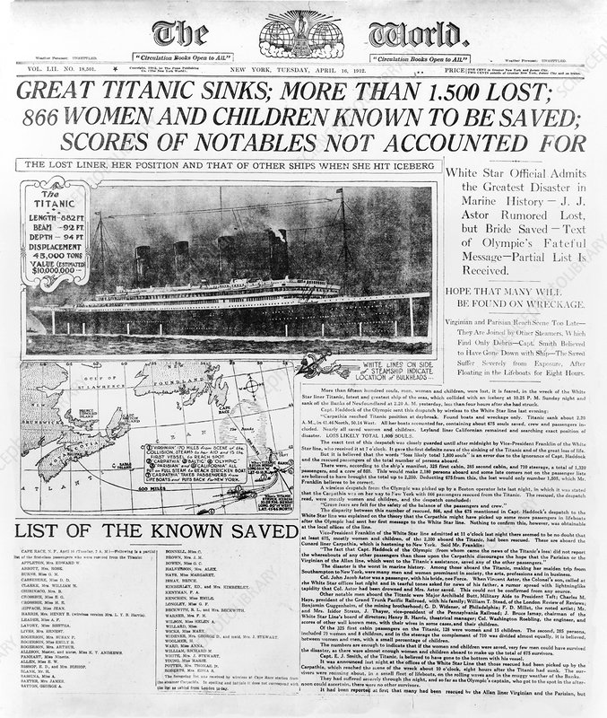 News report on Titanic disaster, 1912