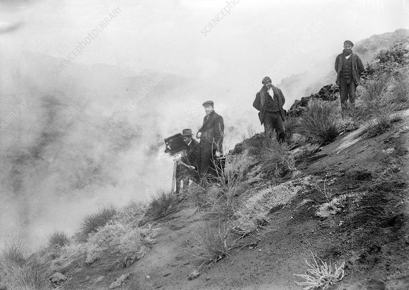 Filming Mount Etna eruption, 1910