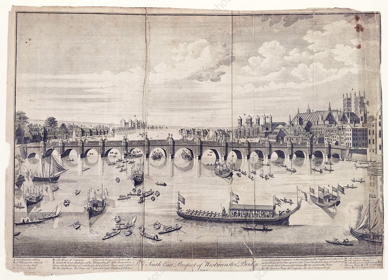 Barges at Westminster Bridge, 1740s