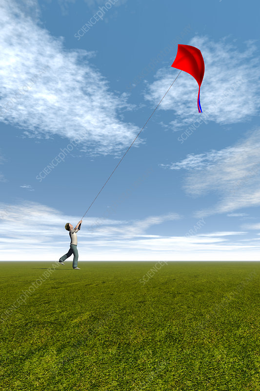 Boy flying a kite, illustration