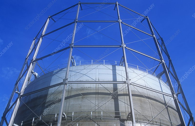 A gasometer in Leeds, UK