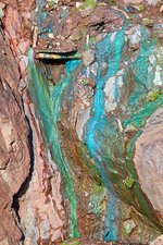 Sea Cliffs stained green from copper