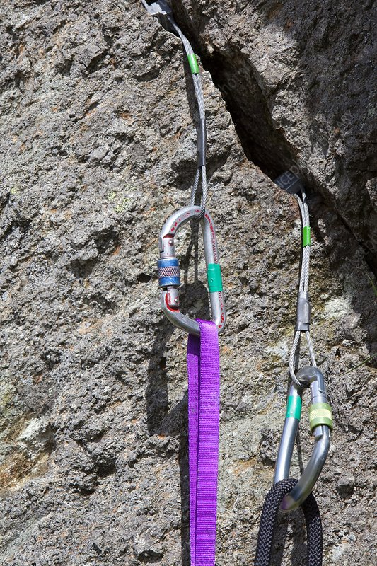 Climbing wires placed in rock