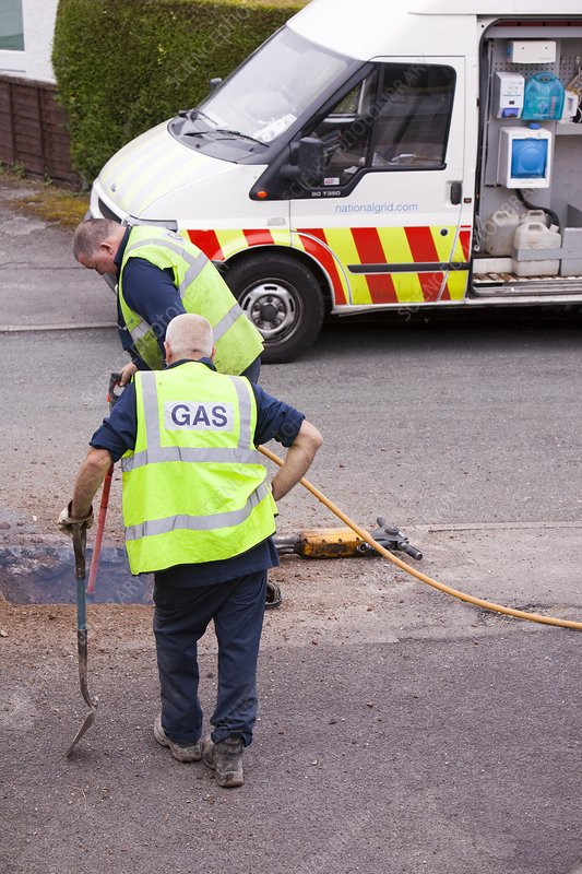 British Gas workers replacing old pipes