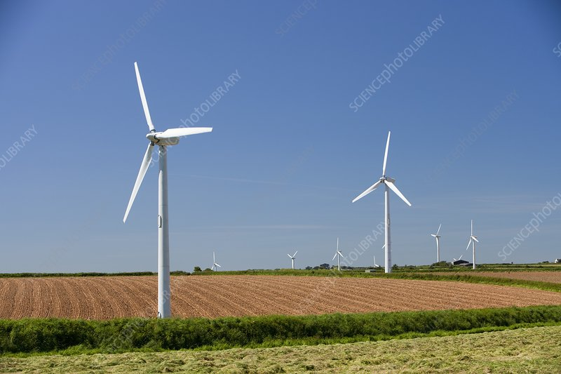 A wind farm on agricultural land