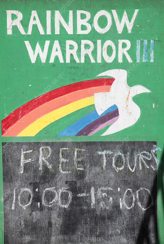 Rainbow Warrior tour sign