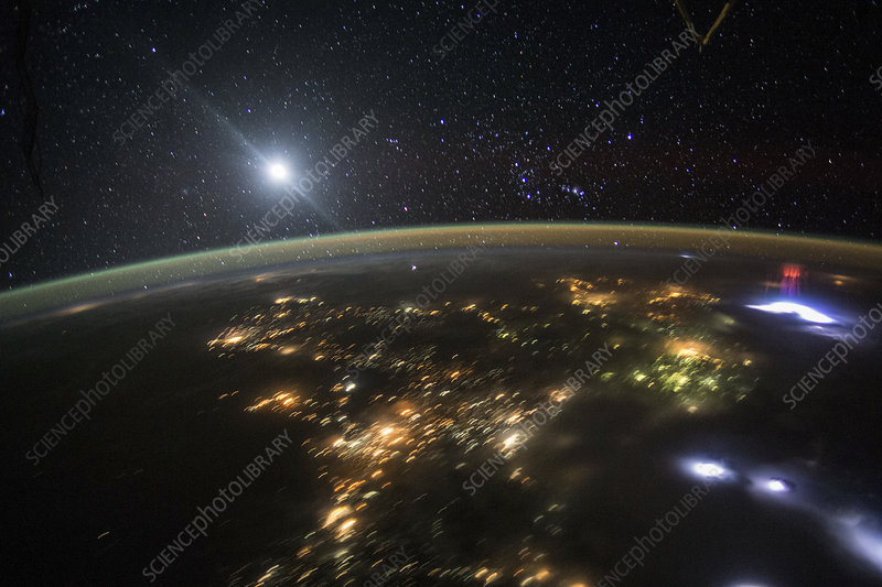Red sprite over Mexico, ISS photograph