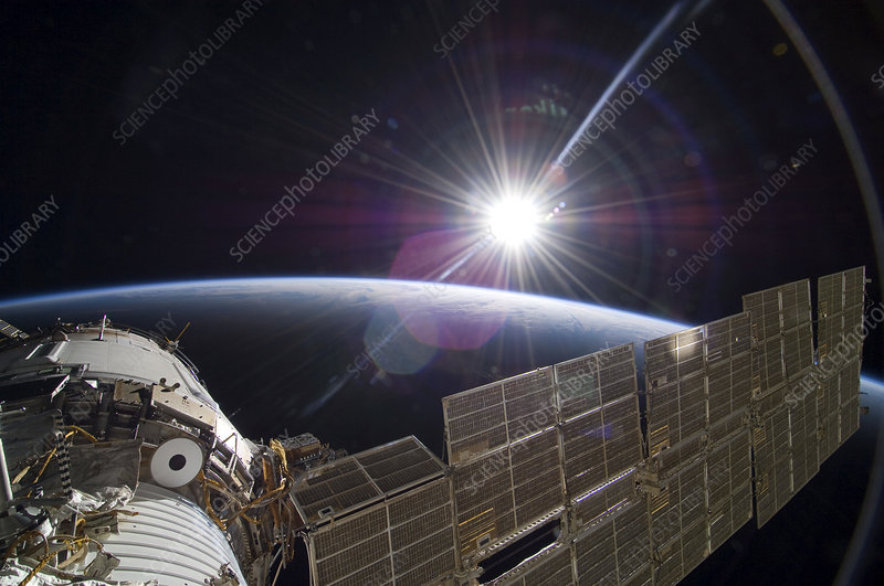 Sun and the ISS, astronaut photograph