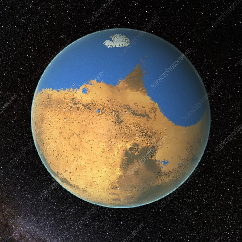 Ocean on early Mars, illustration