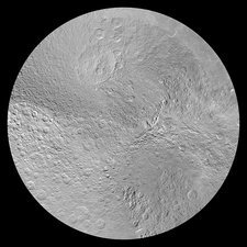 Rhea's north pole, satellite image