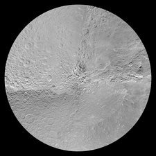Rhea's south pole, satellite image