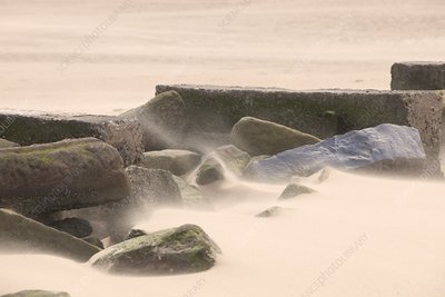 Sand blowing along Talacre beach