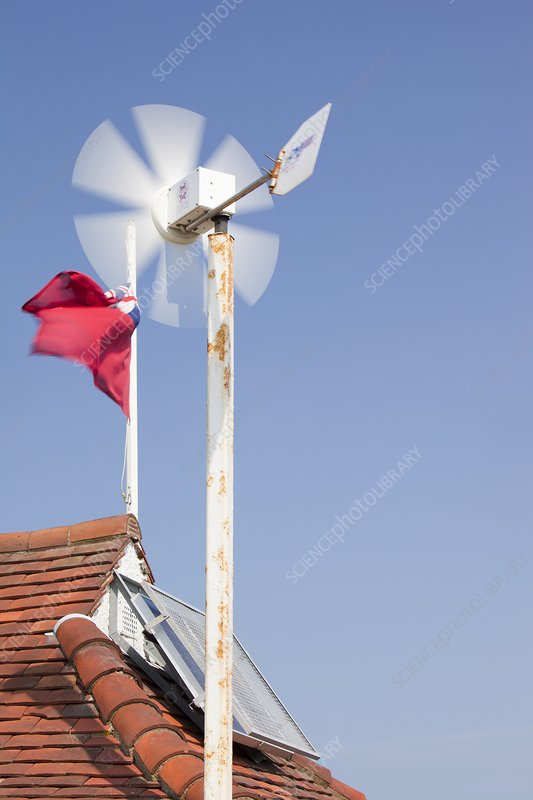 A wind turbine on the roof