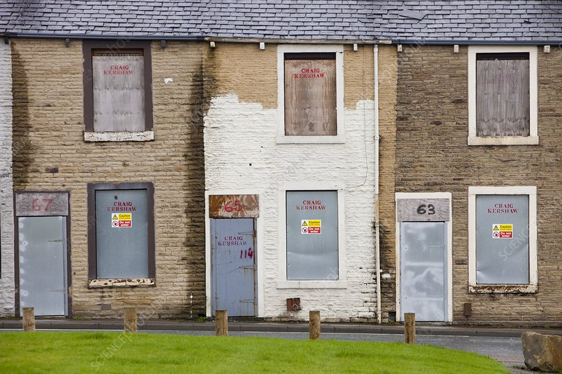 Boarded up terraced houses in Burnley