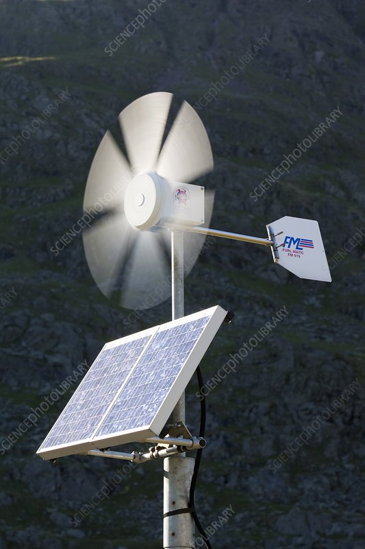 A solar electric panel and wind turbine
