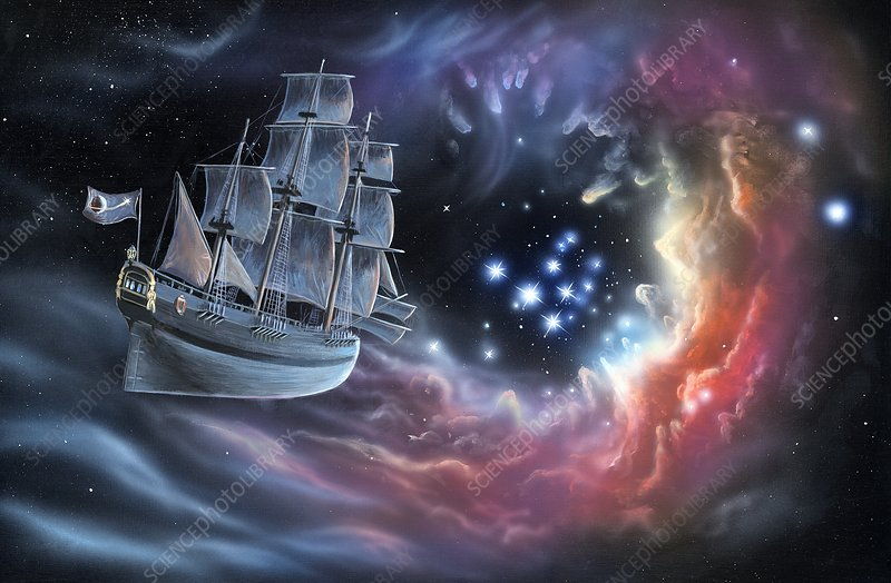 Galleon amongst the stars, illustration