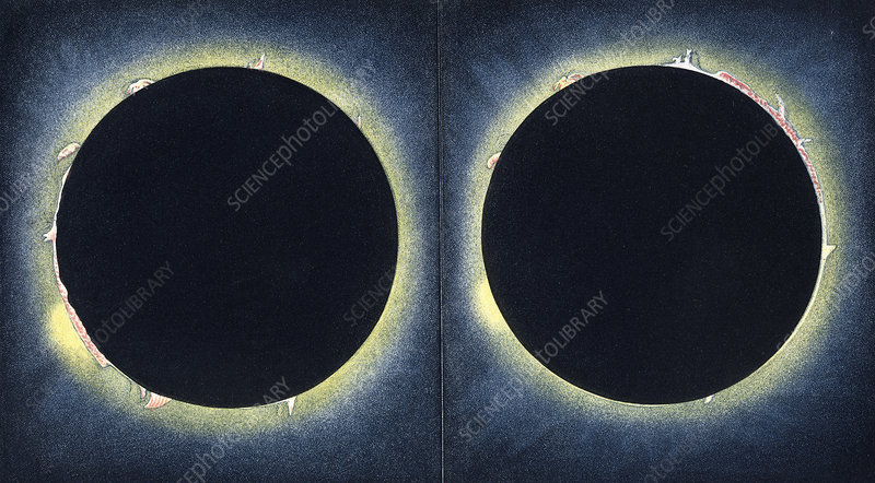 Total solar eclipse, 19th C illustration