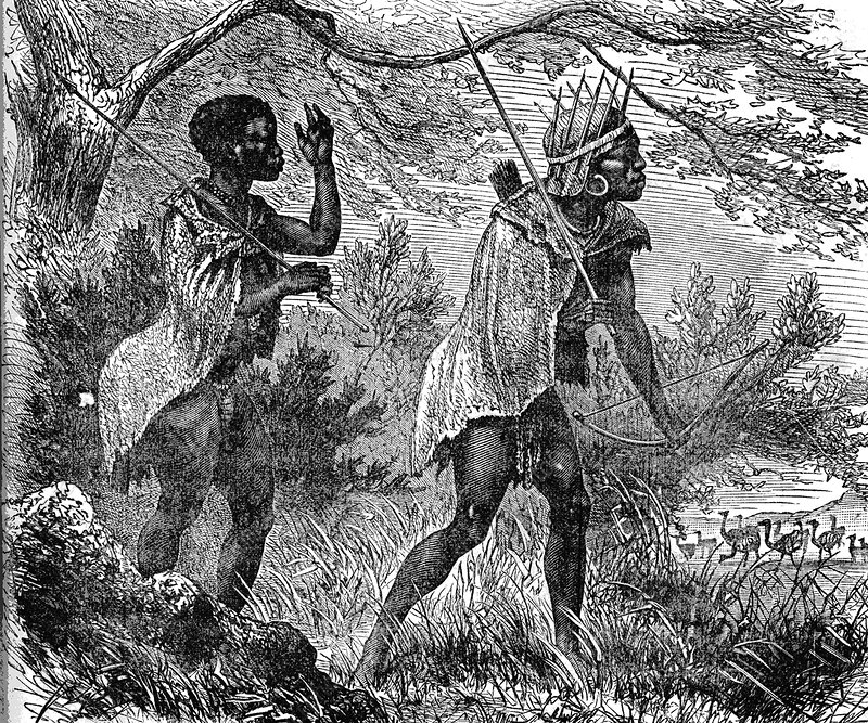 African bushmen, 19th C illustration