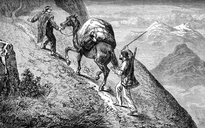 Gold miners, 19th Century illustration