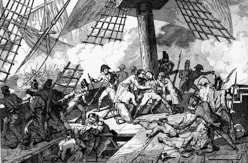 Nelson's death at Trafalgar, illustration
