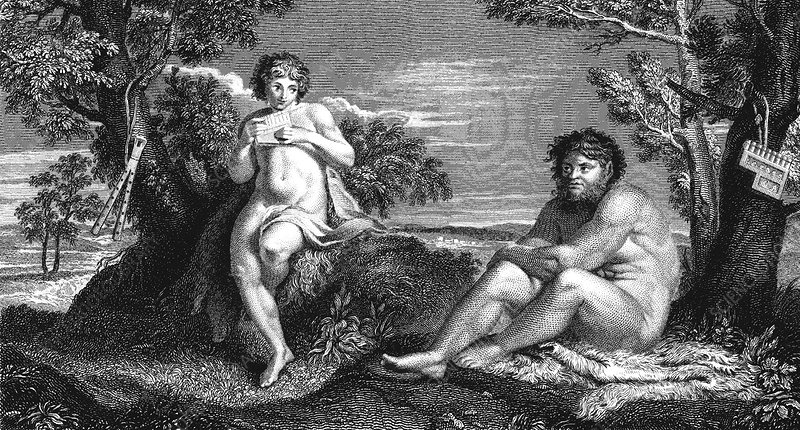 Pan and Apollo, 19th Century illustration