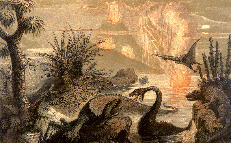 Prehistoric world, 19th C illustration