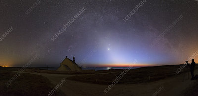 Zodiacal light over chapel