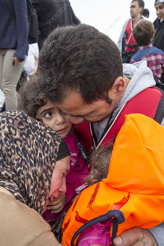 Syrian refugees arriving on Greek island