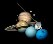 Voyager 2 and planets, illustration