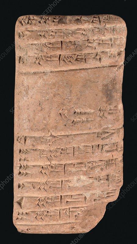 Accounting ledger, Sumerian cuneiform