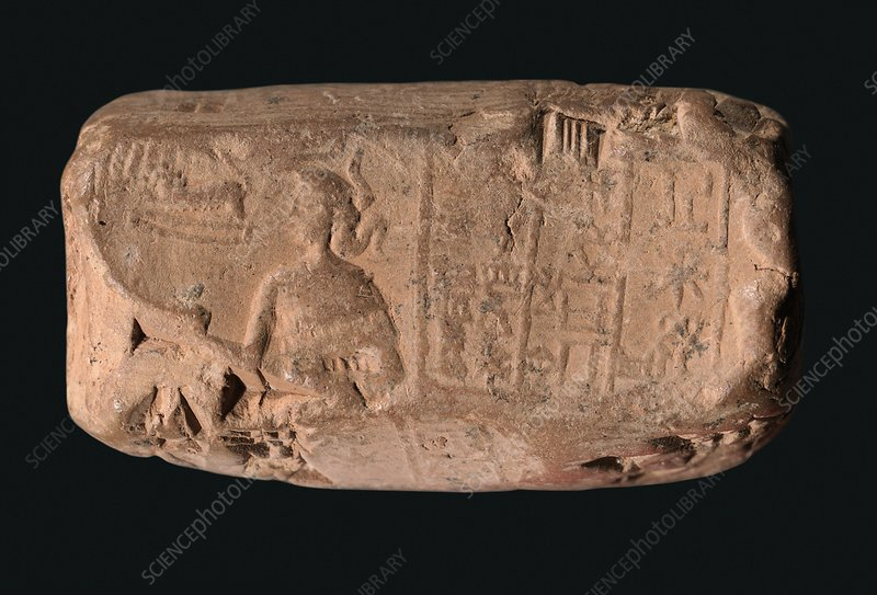 Cylinder seal goddess, Sumerian cuneiform