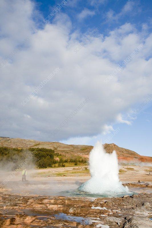 Geyser erupting, Geysir, Iceland