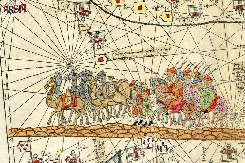 Marco polo 14th century catalan atlas stock image c026 - Marcos catalan ...