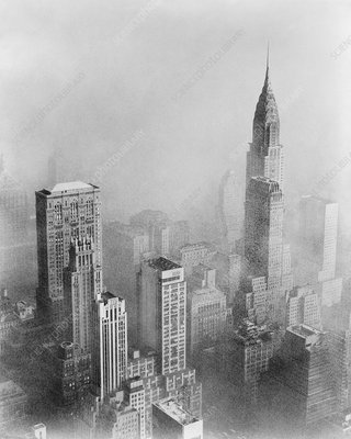 Smog and New York skyscrapers, 1950s