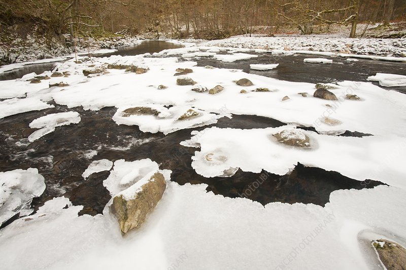 Partially frozen river