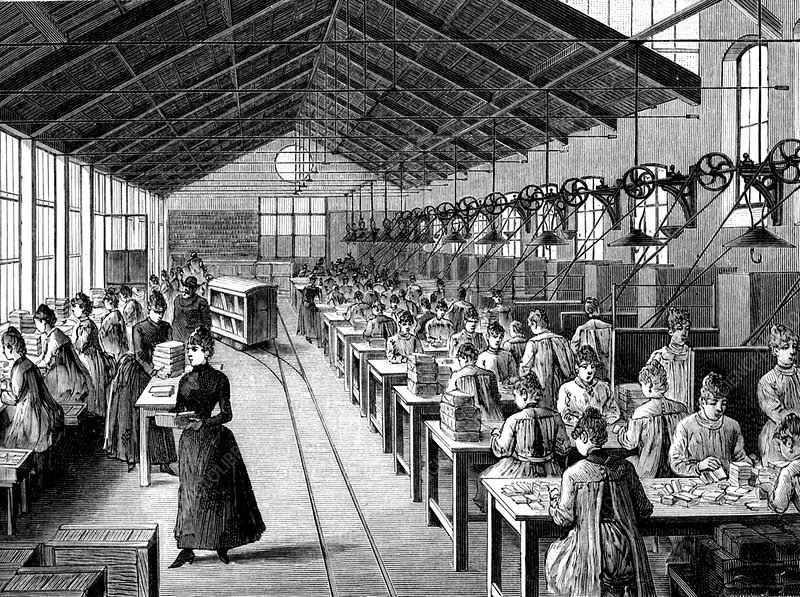 19th Century match factory, illustration