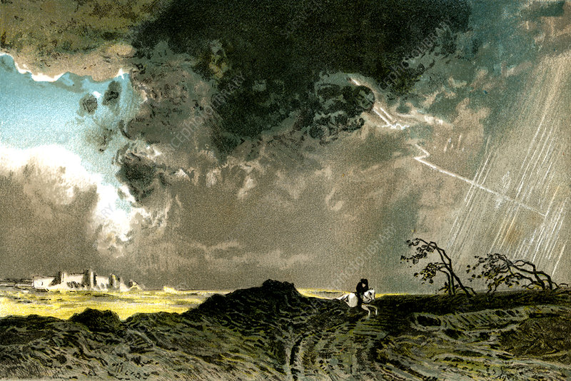 Thunderstorm, 19th Century illustration