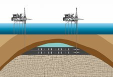 Offshore oil drilling, illustration