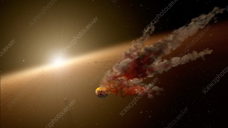 Asteroid impact in planet-forming region