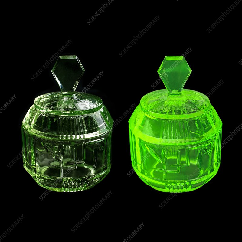 Uranium glass fluorescing